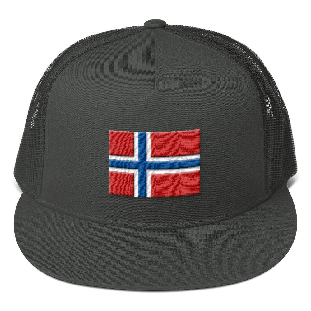 Timofey Bukharin 5 Panel Trucker Cap with Embroidered Flag of Norway Partial 3D Puff