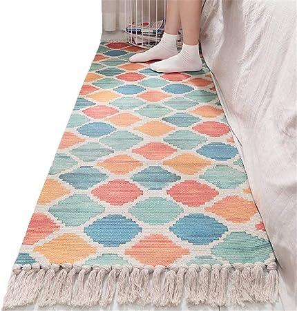 Play Mat Alfombras Infantiles Hilo de algodón Tejidas a Mano Alfombra con Borla Estera Lavable 60 × 150 / 180CM (Color : B, Size : 60 * 150CM): Amazon.es: Hogar