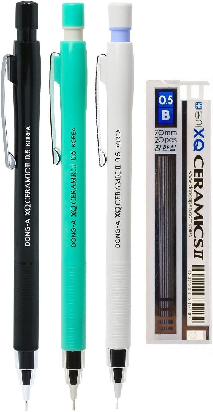 Assorted Colors DONG-A XQ Ceramic II Mechanical Pencil Pack of 3 with Lead Refill 0.5mm