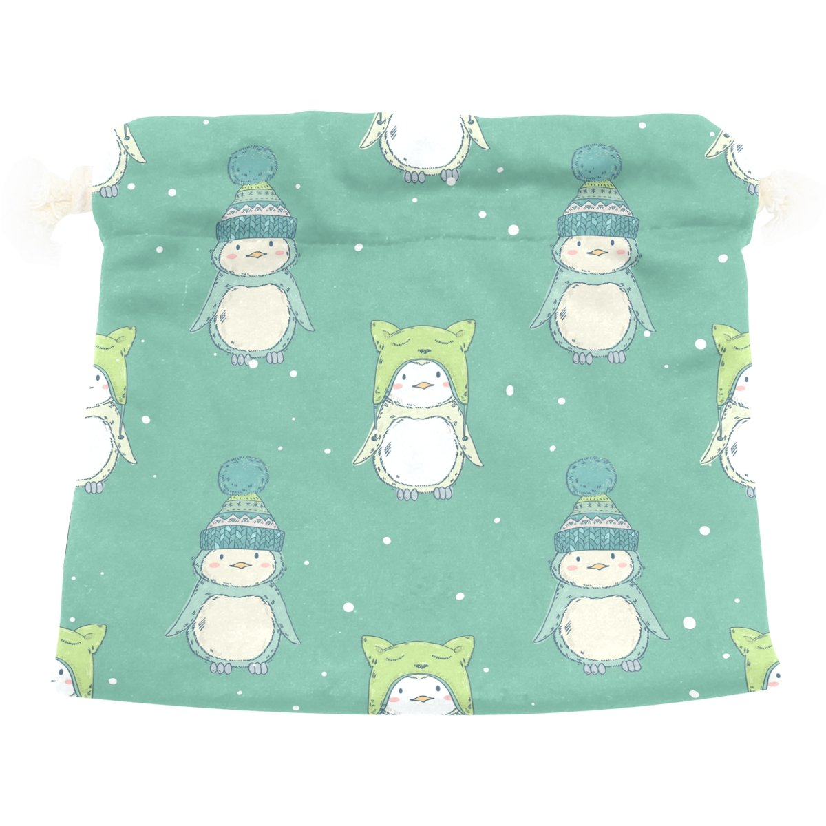 Dragon Sword Cute Cartoon Penguins Friends Gift Bags Jewelry Drawstring Pouches for Wedding Party, 5.5x5.5 Inch