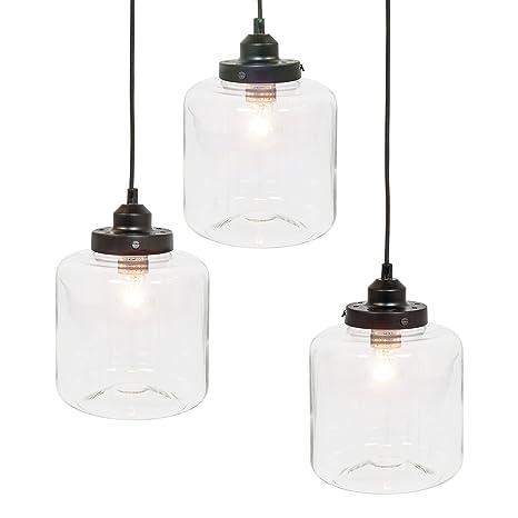 Best Choice Products 3-Light Jar Pendant Chandelier Hanging Light ...