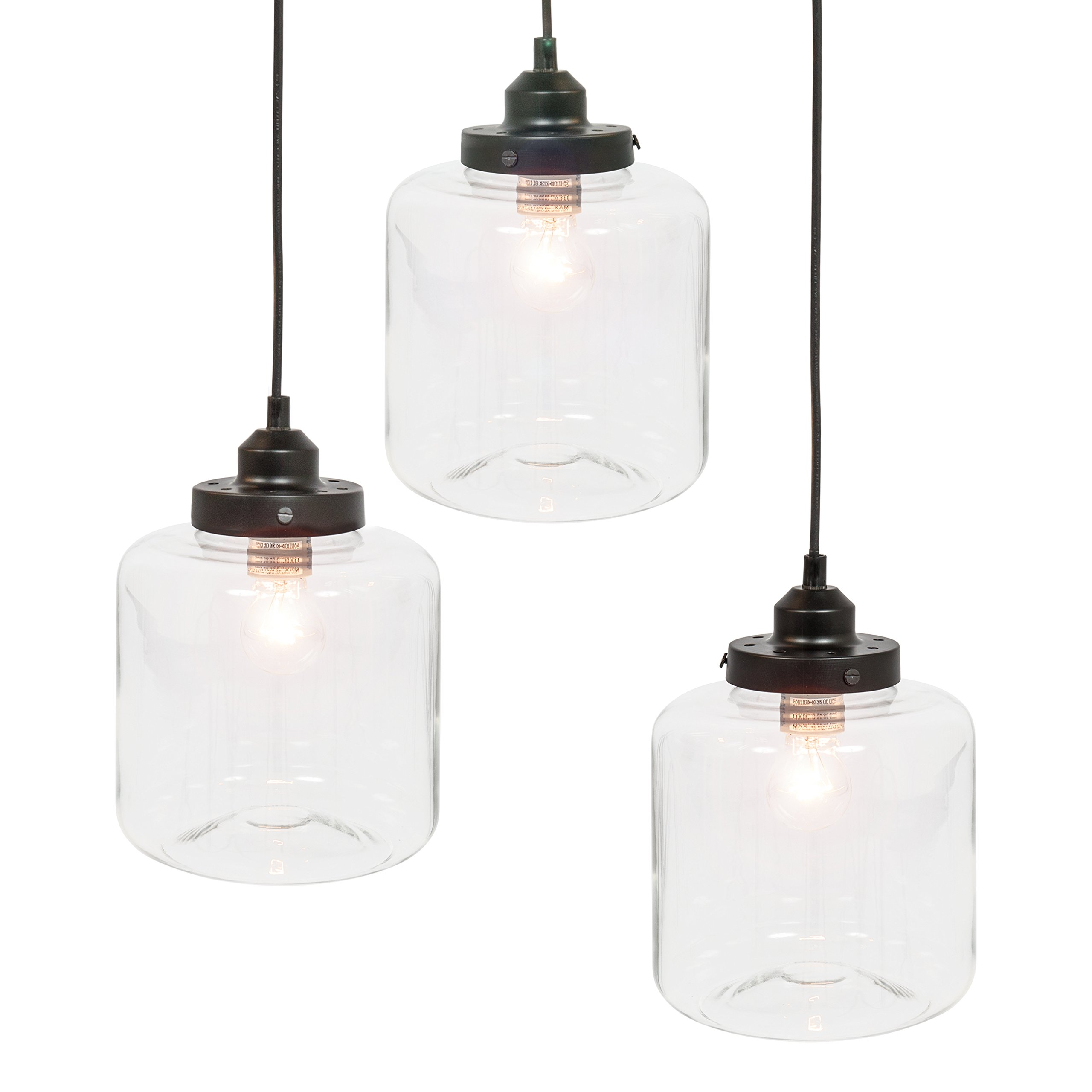 Best Choice Products 3-Light Jar Pendant Chandelier Hanging Light Fixture w/Bulb Included - Black