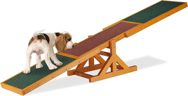 Relaxdays 10023710 Balancín Perro, Dog Agility, Entrenamiento, Mascotas Grandes y Pequeñas, 1 Ud, 54 x 180 x 30 cm, Multicolor, 1 Ud