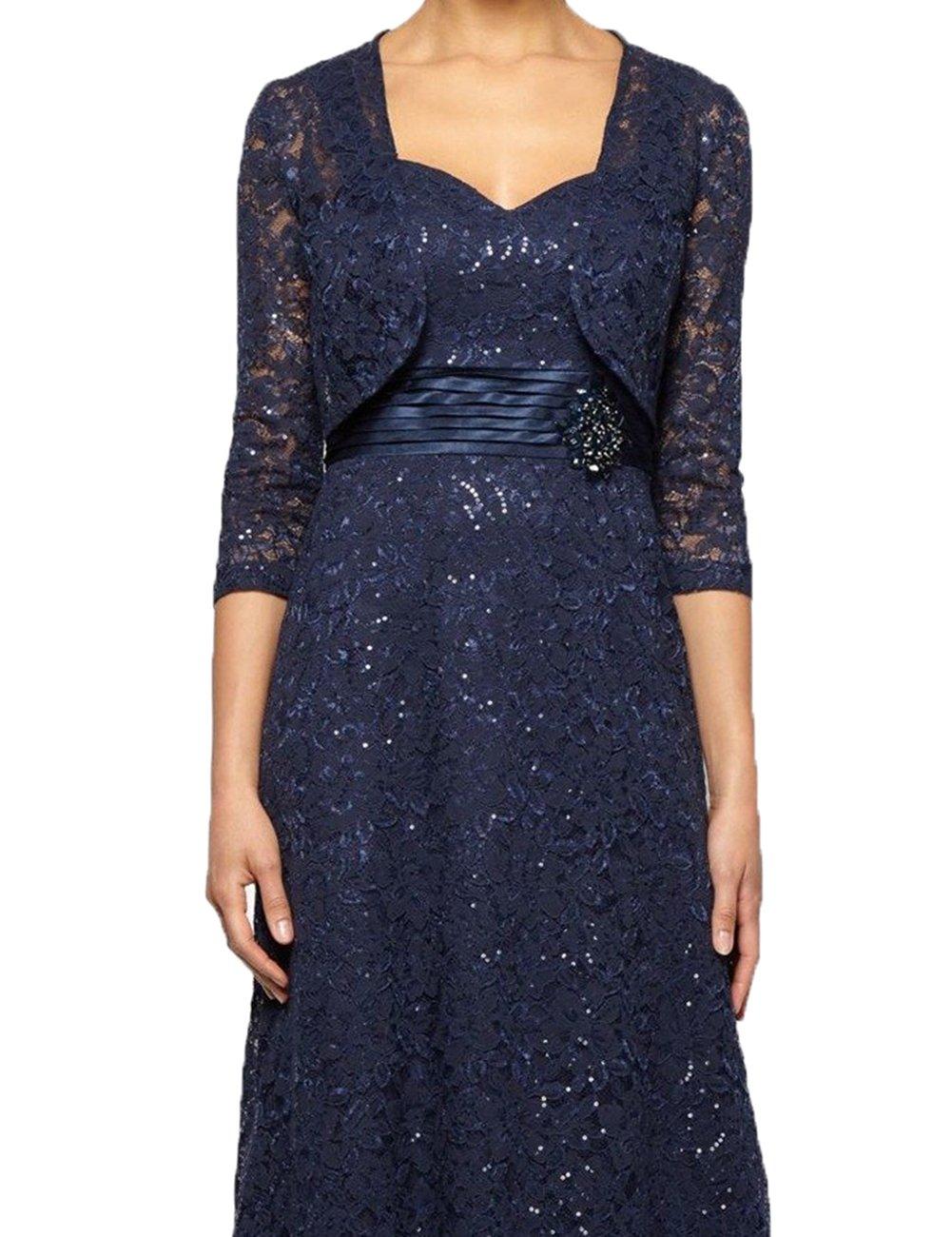 HIDRESS Women's Long Sleeves Wedding Shrugs Floral Lace Open Front Bolero Jackets Shawl BQ127Size 8 Navy