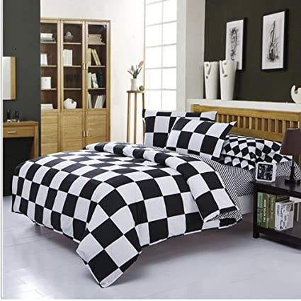 4Piece Checkered Duvet Cover Set Full Bedding Set Black And White Pattern  Design(M,
