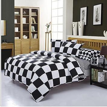 Amazoncom Duolaimeng 4piece Checkered Duvet Cover Set Full Bedding