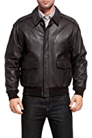 Landing Leathers Air Force Men's A-2 Goatskin Leather Flight Bomber Jacket (Regular & Tall)