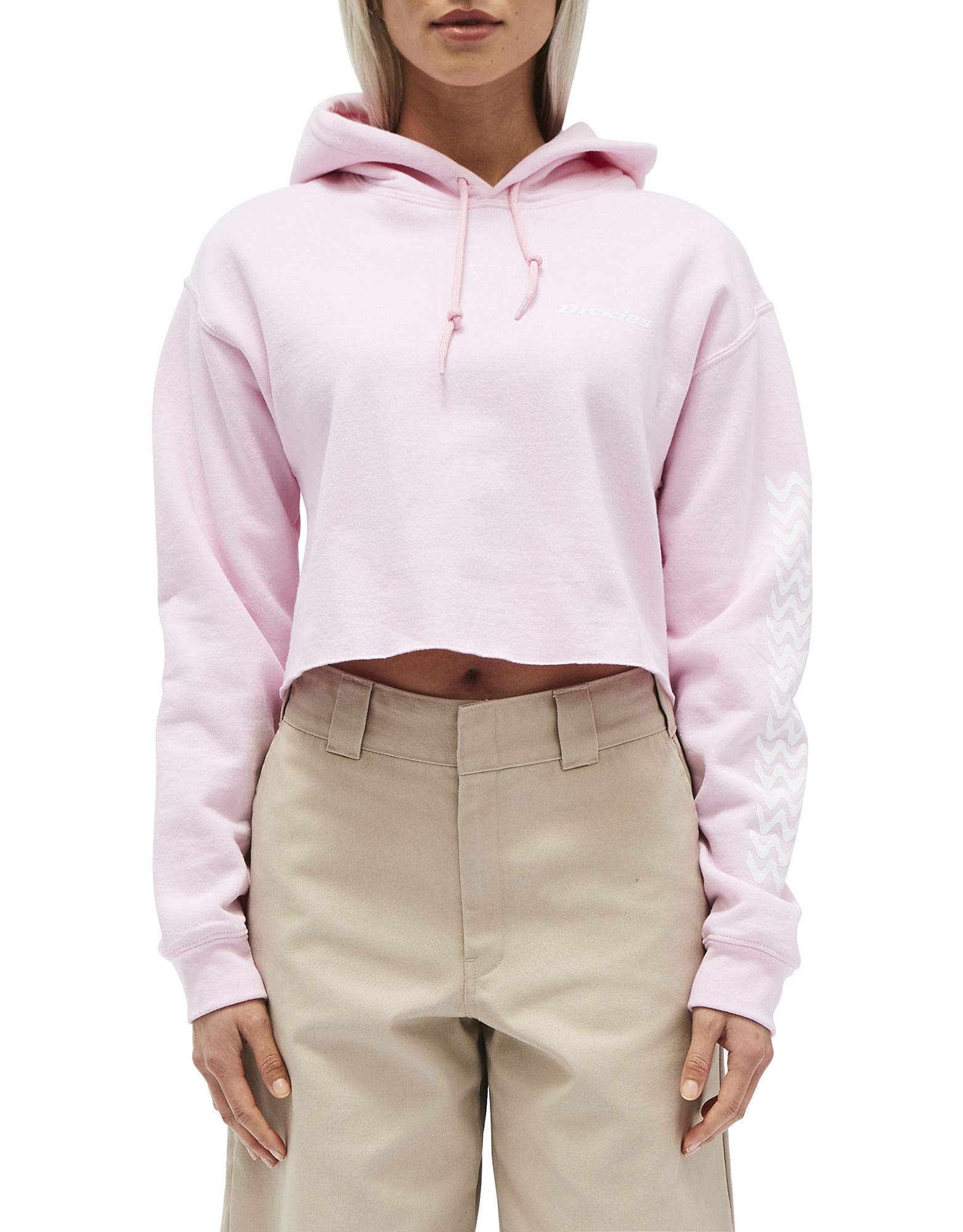 Dickies Girl Juniors' Cropped Fleece Hoodie (Pink, Small) by Dickies
