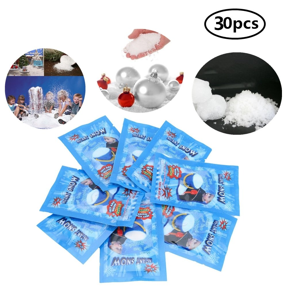 Eshylala 30 Pack SAP Magic Snow Instant Fluffy Snow Powder Reusable DIY Artificial Slime Simulation Snow Home Ornament Party Decoration for Christmas Wedding Festival