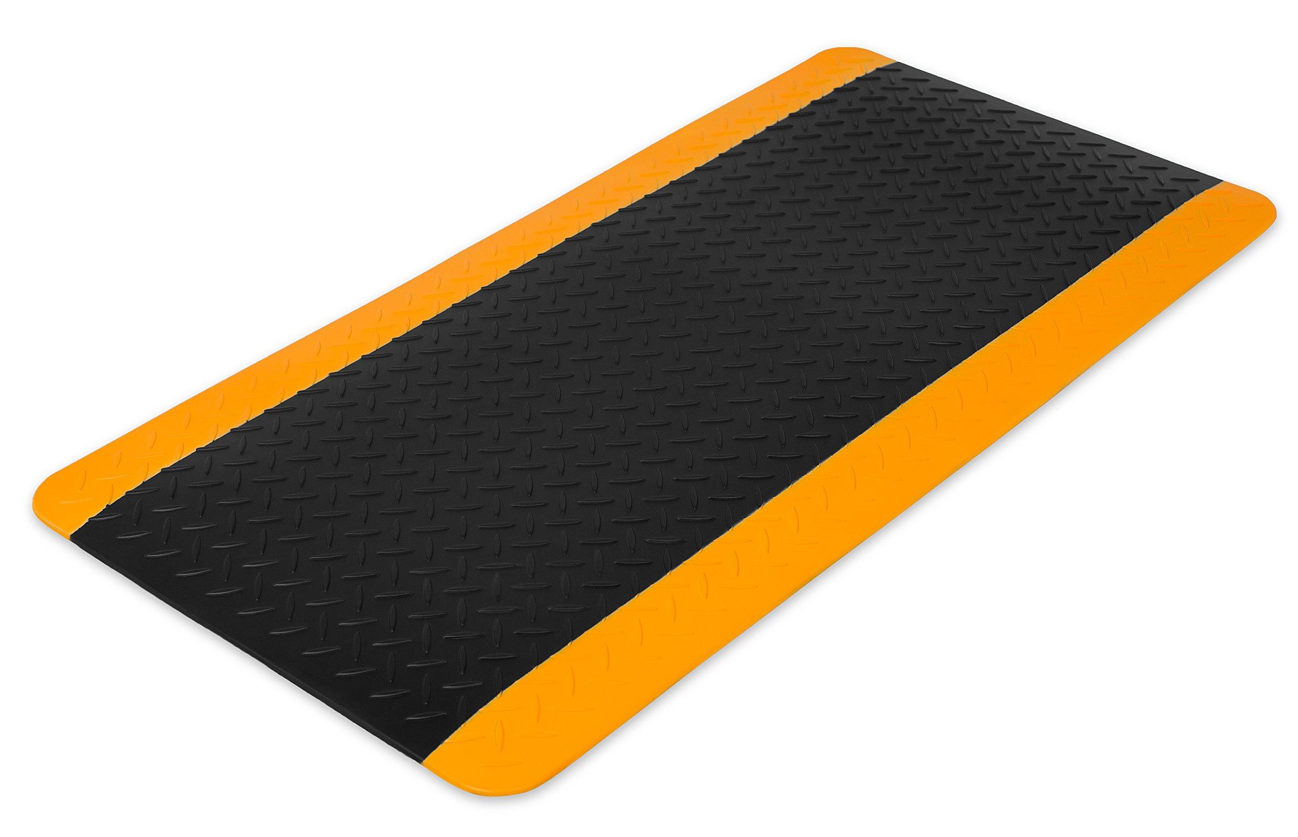 Internet's Best Anti Fatigue Comfort Mat | Cushioned Non-Slip Workshop Garage Office Standing Desk Mat | Ergonomic Floor Mat for Market Booths | Waterproof | 38.75 x 19.75 inches | Black by Internet's Best
