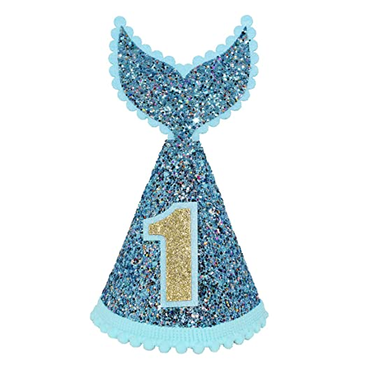 Amazon Maticr Mermaid Tail 1st Birthday Cone Hat With Adjustable Headband For Baby Girl Party Supplies Blue Clothing