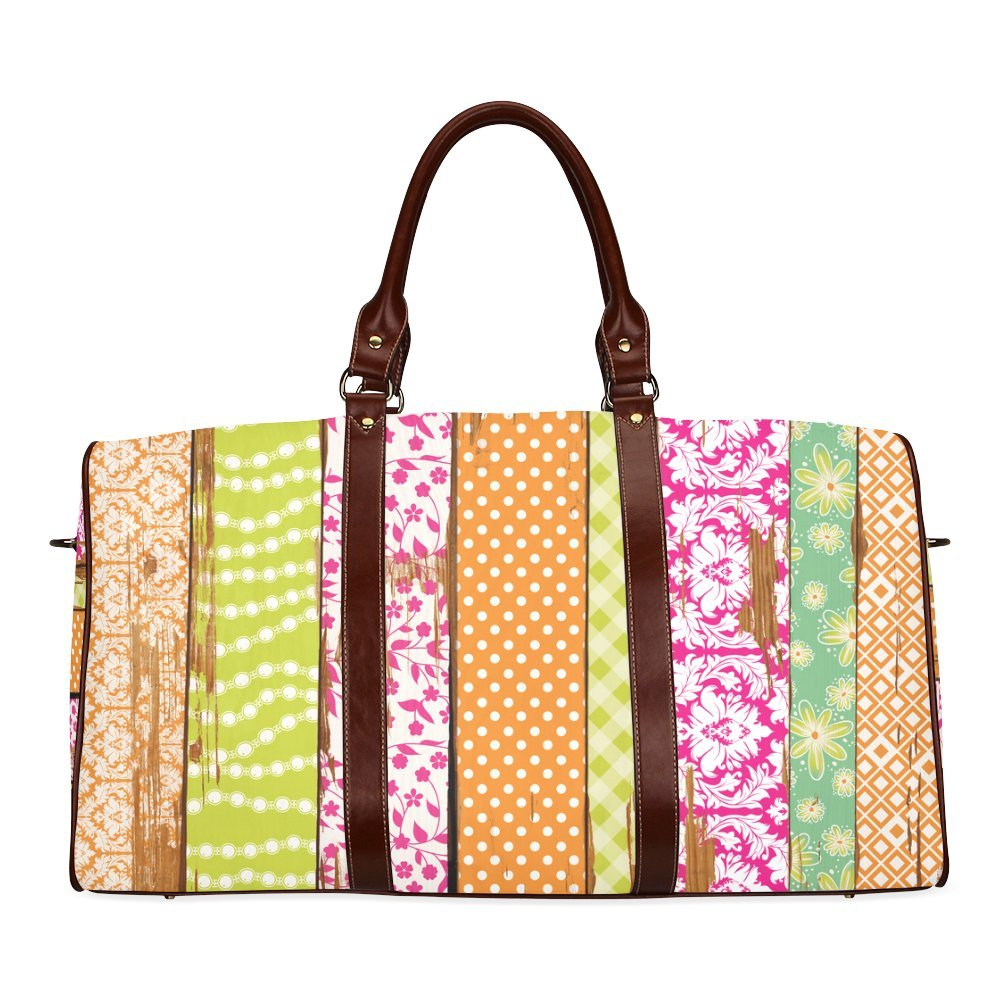 Wood Chipped Painted Patterns Custom Waterproof Travel Tote Bag Duffel Bag Crossbody Luggage handbag