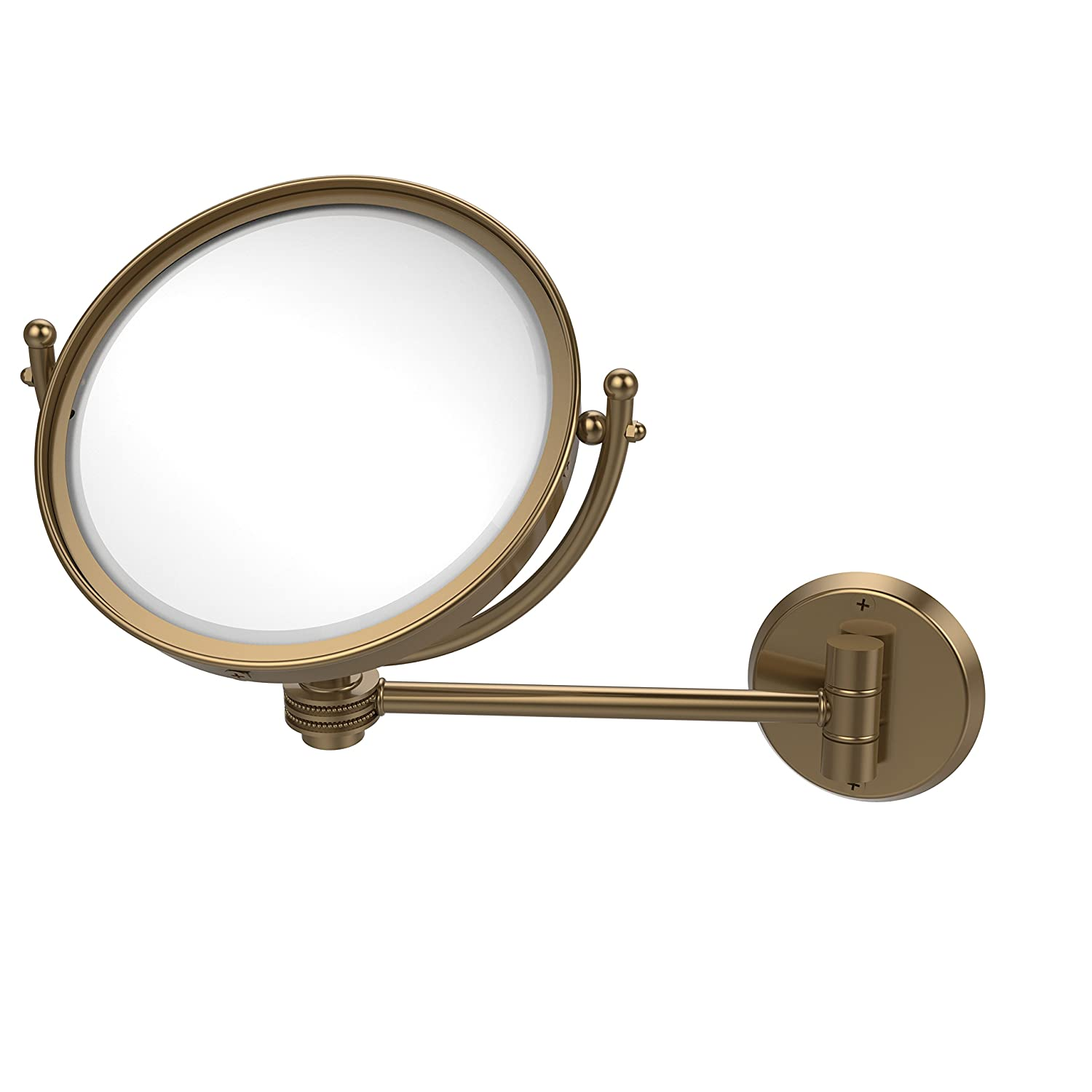 Allied Brass WM-5D//2X-BBR 8 Inch Wall Mounted Make-Up Mirror 2X Magnification Brushed Bronze