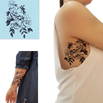 26c64892d0d41 Amazon.com : DaLin 4 Sheets Sexy Temporary Tattoos for Women Flowers  Collection (Jasmine Flower) : Beauty