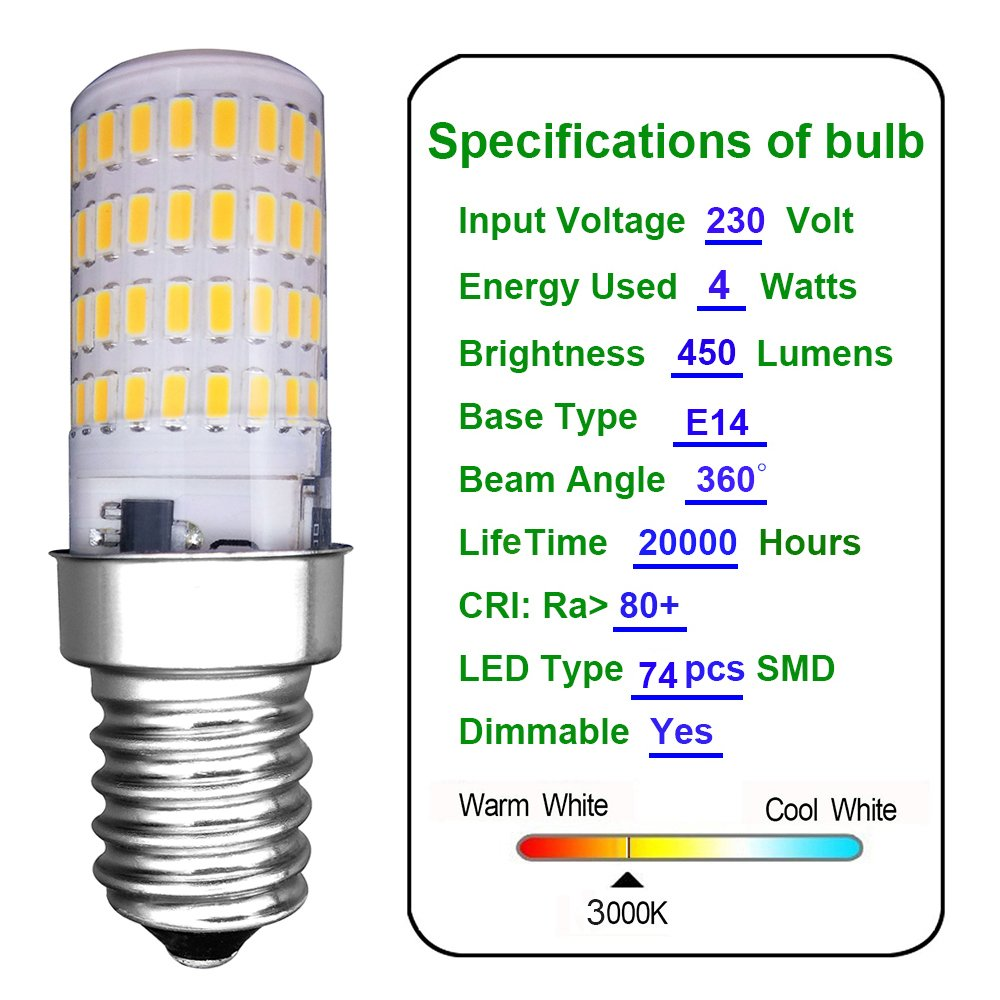 MZMing [2 Piezas] E14 Pequeño LED Bulb 4W Bombillas Nevera ...