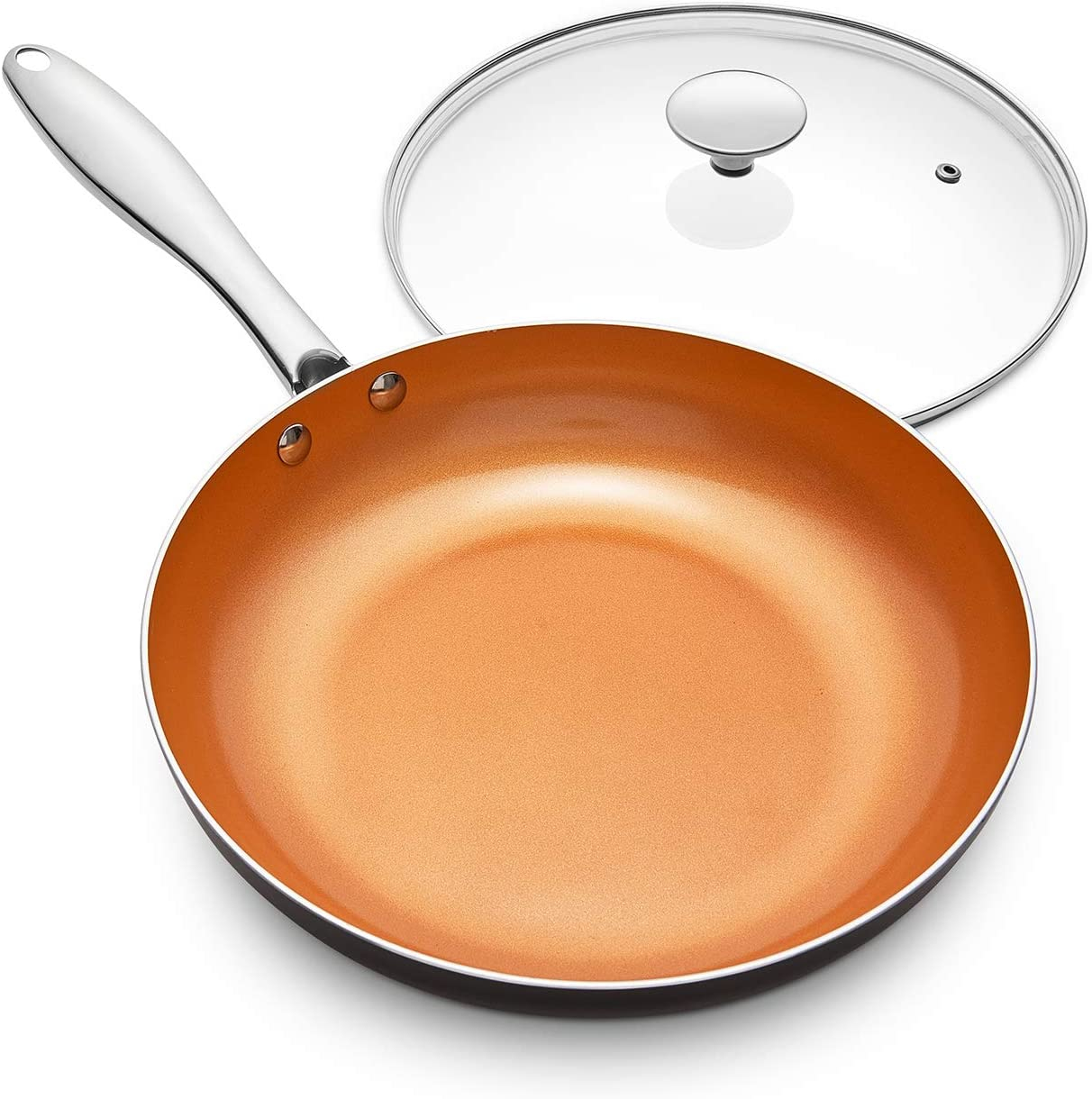 MICHELANGELO 12 Inch Frying Pan with Lid, Nonstick Copper Frying Pan with Titanium Ceramic Interior, Nonstick Frying Pans, Nonstick Skillet with Lid, Large Copper Pans Nonstick, Induction Compatible