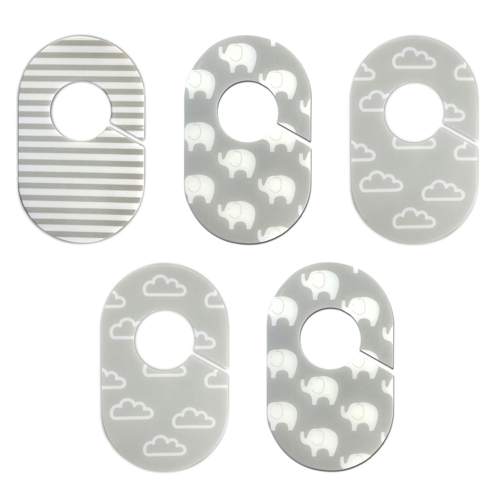 Grey and White Nursery Closet Rod Organizers by Little Haven