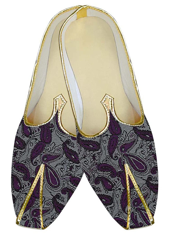 INMONARCH Poliéster Plata Hombres Boda Zapatos Púrpura Paisley MJ010556 43 EU