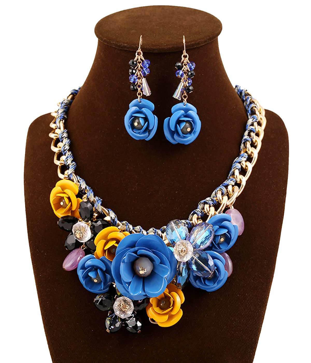 SEKAISORA Ms. Rose Necklace Pendant Transparent Large Resin Crystal Flower Necklace Earrings Set Statement Blue+Yellow