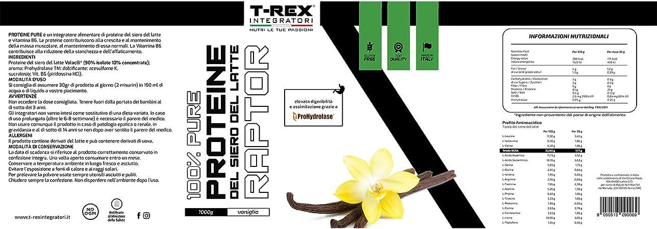 Whey Protein RAPTOR   Proteína de Suero de leche Aislada/Concentrada   VOLAC   Sabor VAINILLA - 1 kg   T-Rex Integratori 100% Fabricado en Italia