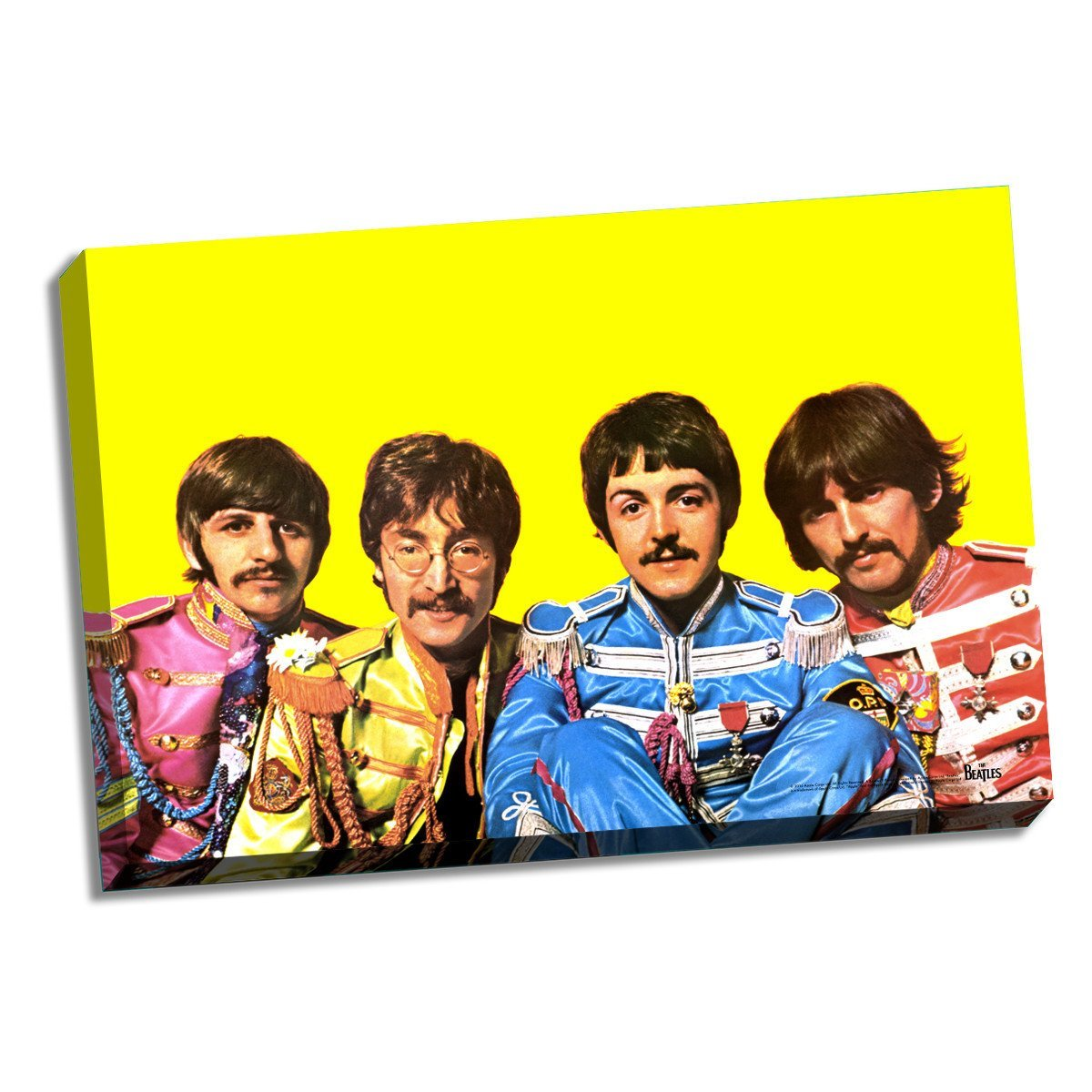 The Beatles Sgt. Pepper Group Pose Yellow Background 24 Inch X 36 Inch Stretched Canvas