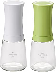 Kyocera 2-Piece Pepper, Salt, Seed and Spice Everything Mill Set with Adjustable Advanced Ceramic Grinder, Brilliant White/Apple Green