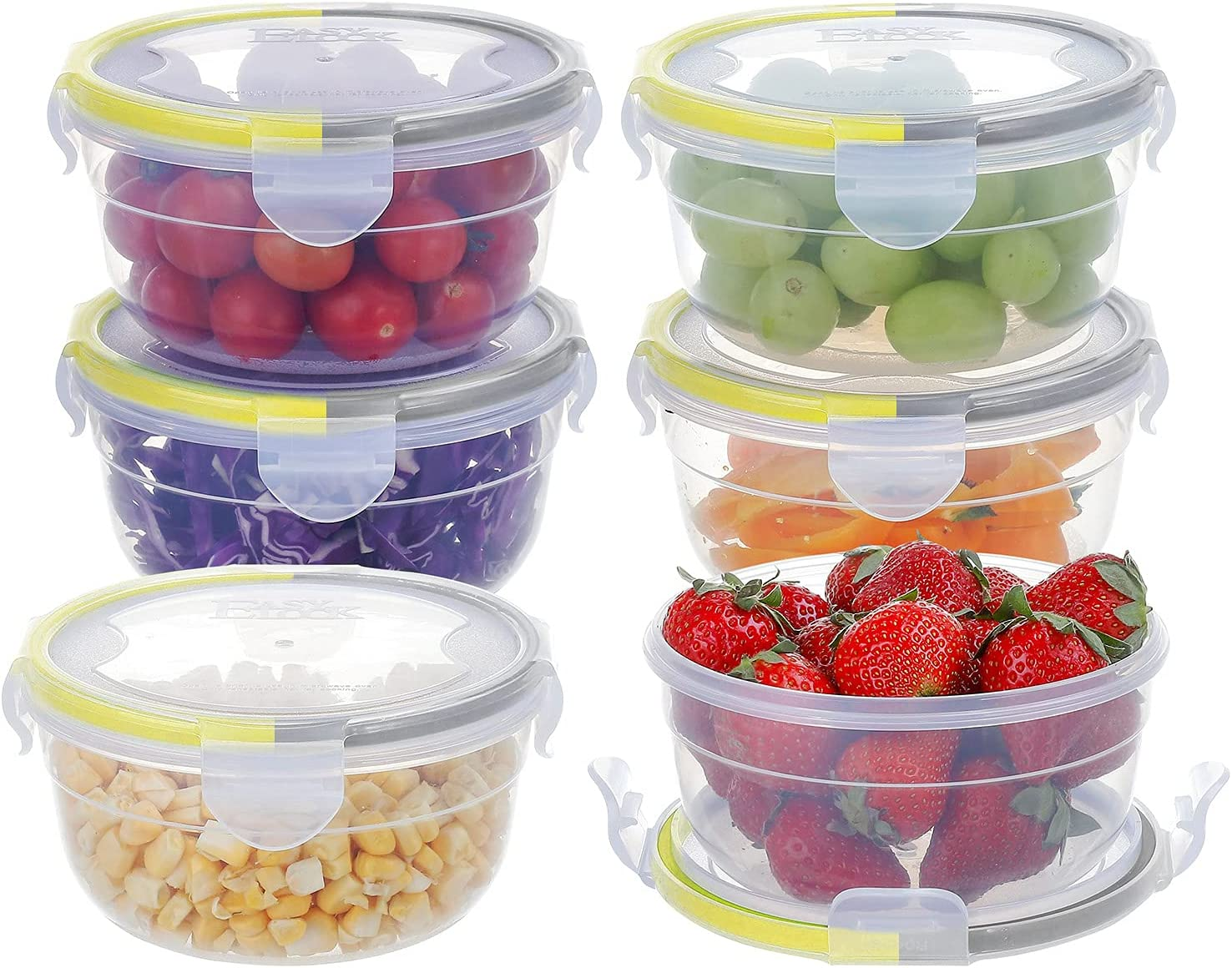 [6 Pack]10.1oz/300ml Plastic Small Food Storage Container with Lid, Airtight Round Storage Bowls,Leak-proof Sauce Containers,Microwave, Freezer and Dishwasher Safe