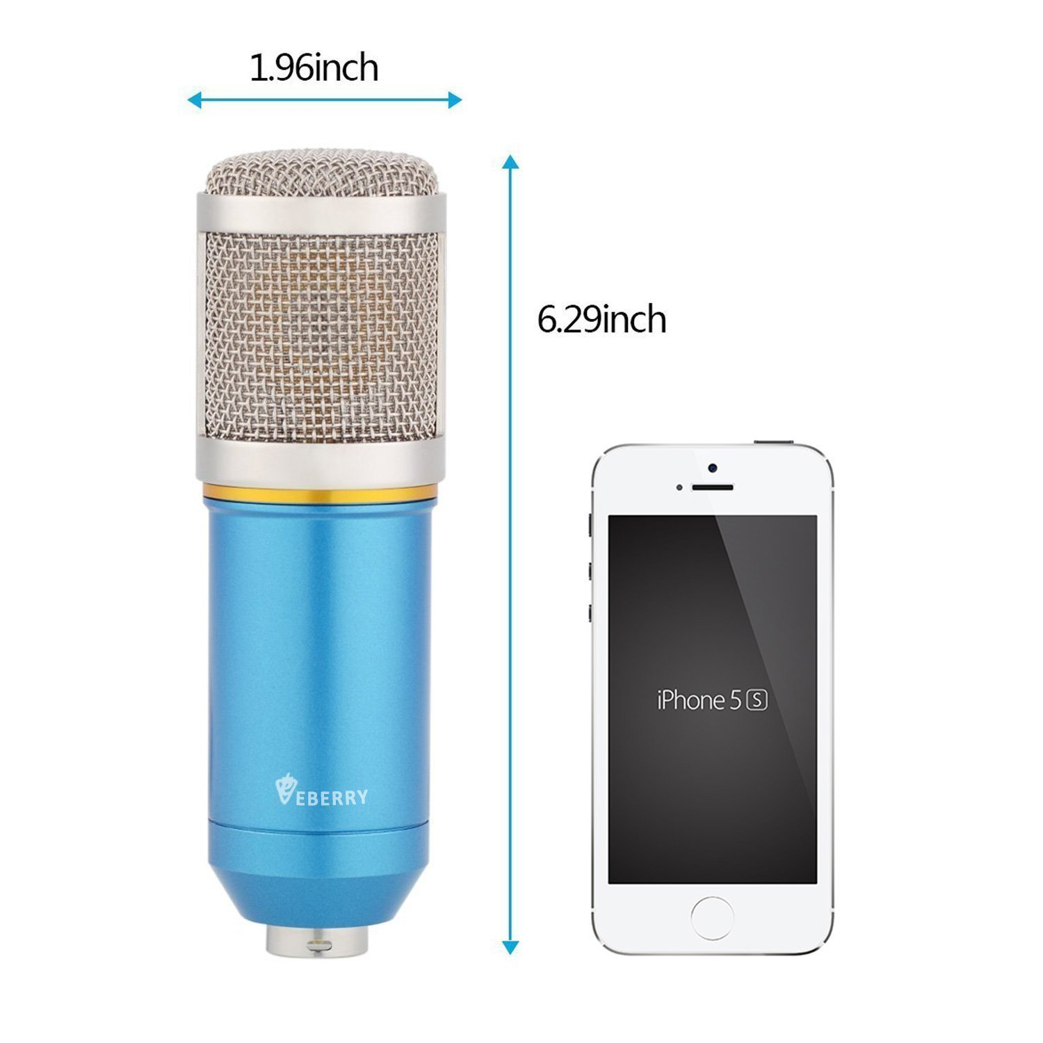 eBerry Condenser Microphone, Large Diaphragm Studio Broadcasting & Recording Vocal Condenser Mic with Shock Mount Holder Clip (Blue) by eBerry (Image #7)