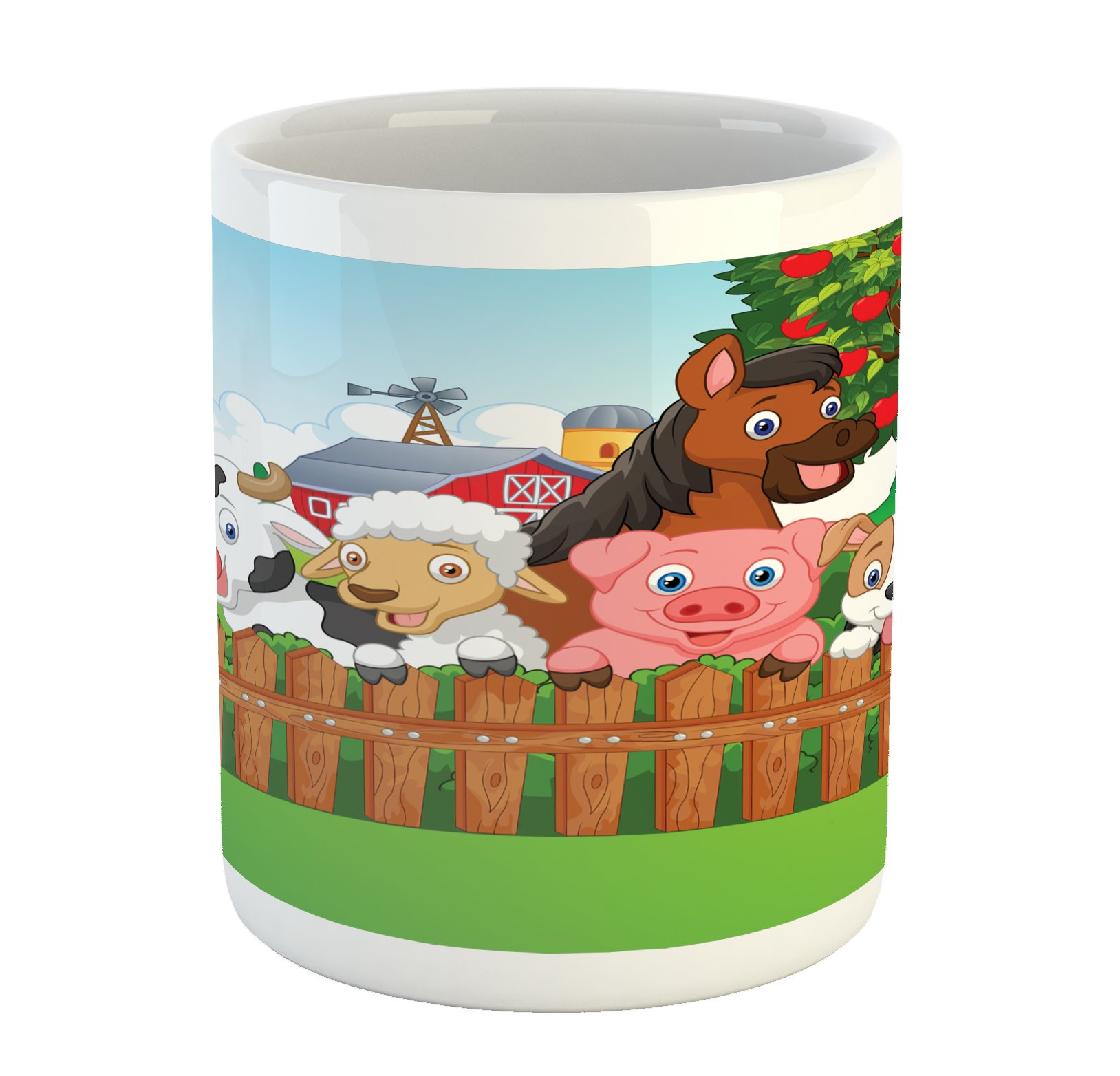 Ambesonne Cartoon Mug, Composition Cute Farm Animals on Fence Comic Mascots with Dog Cow Horse Kids Design, Printed Ceramic Coffee Mug Water Tea Drinks Cup, Multicolor