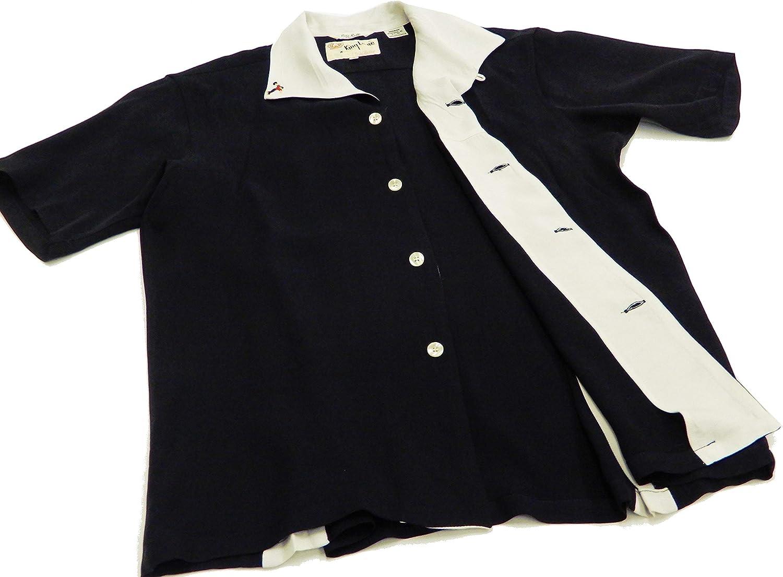 King Louie KL38136 - Camisa de Bolos para Hombre (Manga Corta, Estilo de los años 50) - Negro - 50 ES/L: Amazon.es: Ropa y accesorios