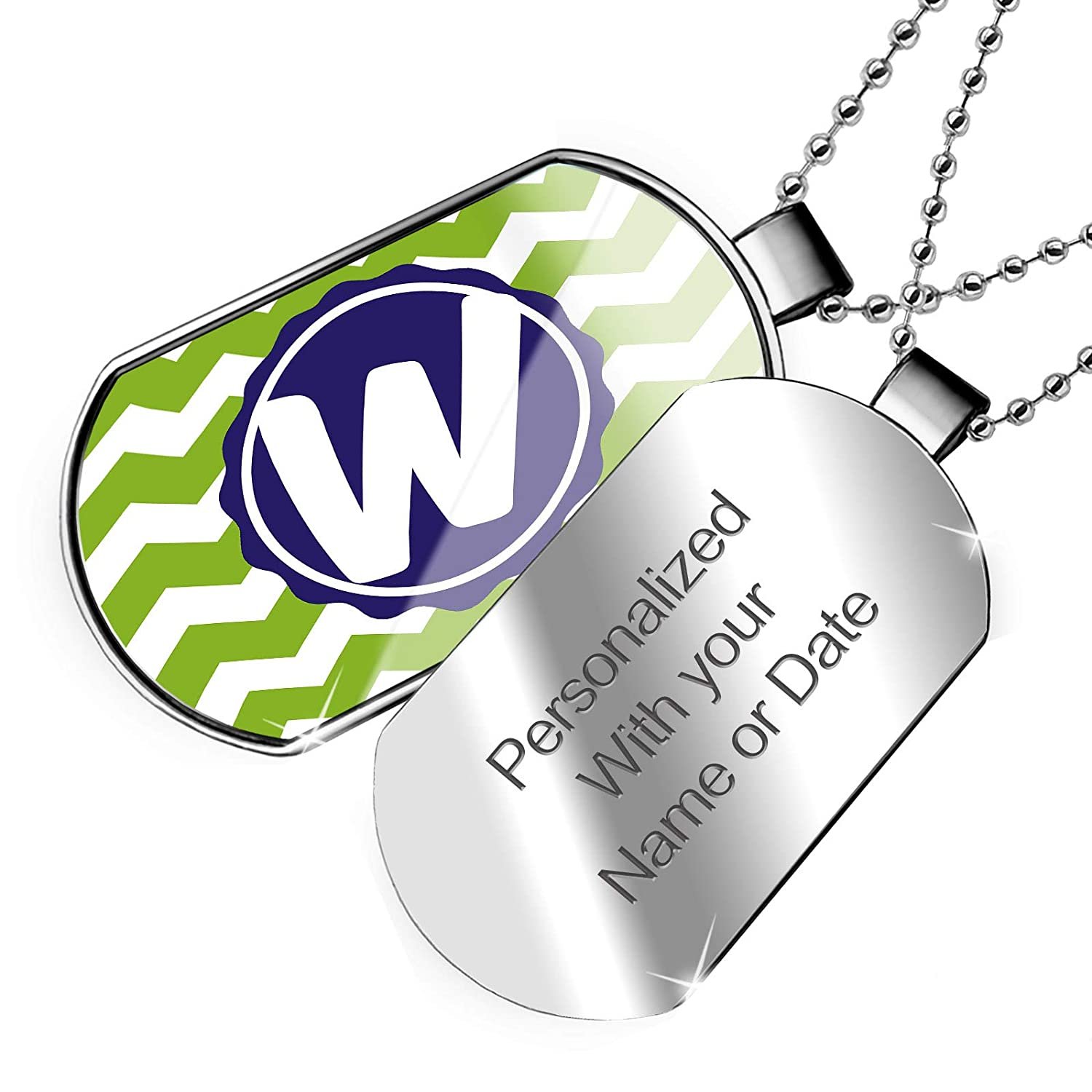 NEONBLOND Personalized Name Engraved Monogram W Green Chevron Dogtag Necklace