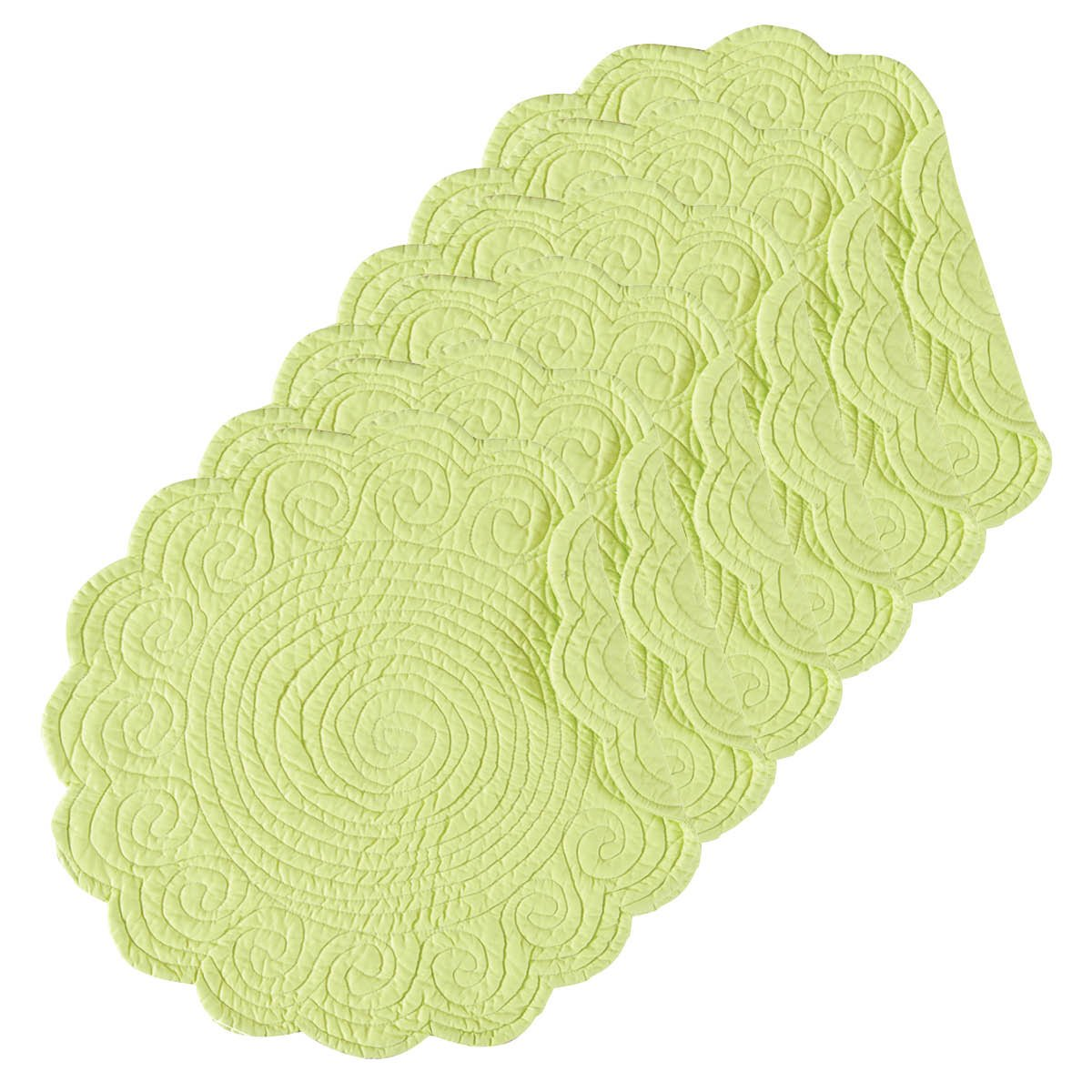 (Round Placemat Set of 6, Lime Green) - Lime Green 43cm Round Quilted Placemat Set of 6 Round Placemat Set of 6 ライムグリーン B075VNV1KY