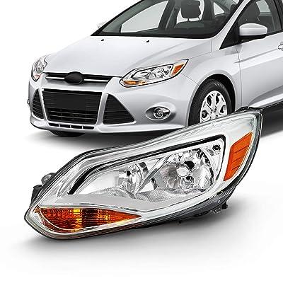 Fits 2012 2013 2014 Ford Focus 4Door Sedan Hatchback [Halogen Type] Chrome Trim Headlight Driver Left Replacement: Automotive