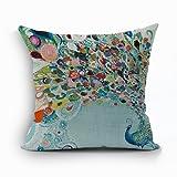 Nunubee Vintage Peacock Home Pillow Cover Cotton Linen Bed Pillowcase Square Cushion 5