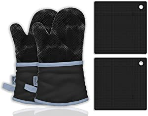 BlizeTec Oven Mitts and Pot Holders; Non-Slip Heat Resistant Cotton with Terrycloth Lining Surface Black Gloves and Silicone Pot Mats (4 Pcs)