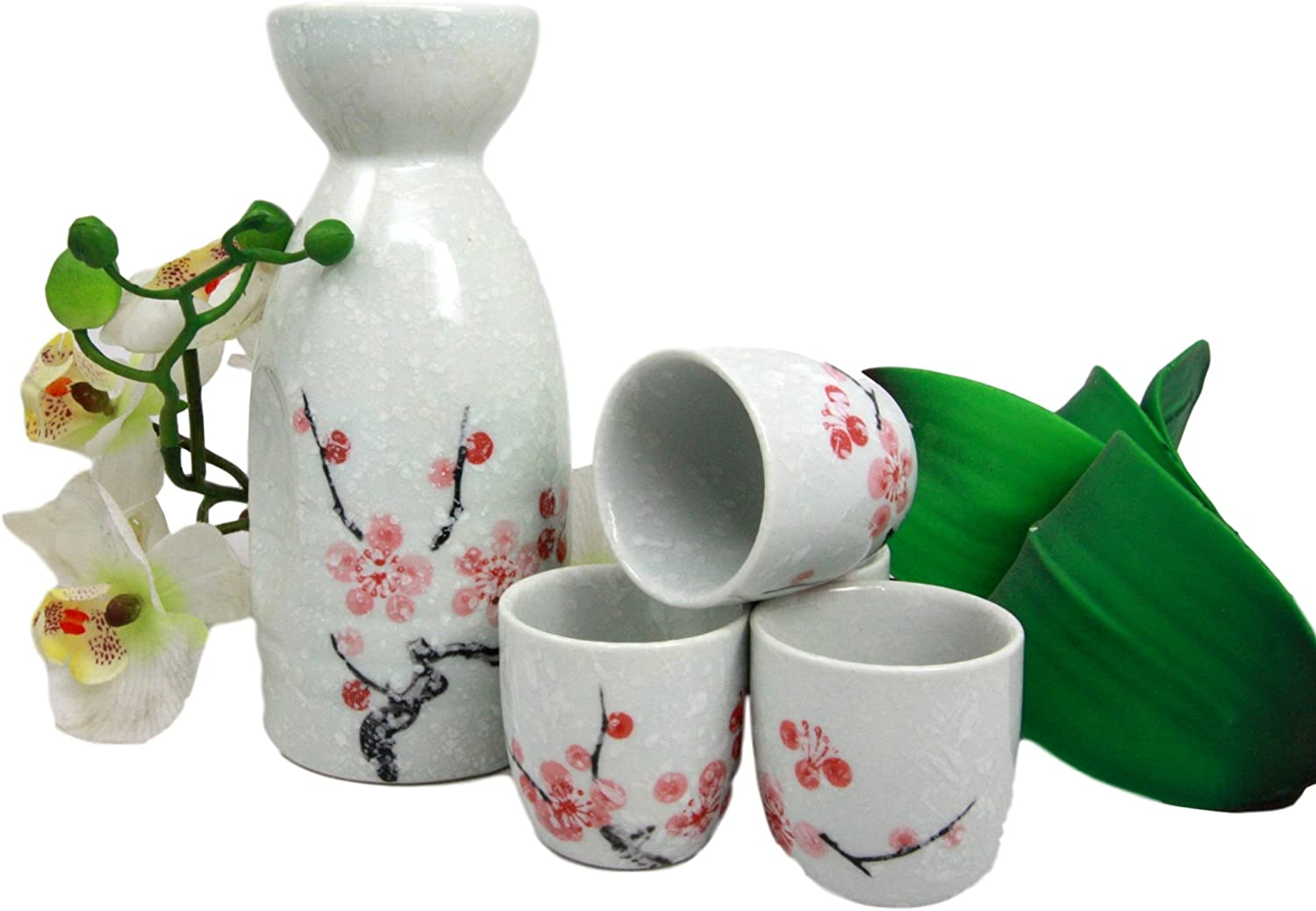 Atlantic Collectibles Japanese 12oz Ceramic Pink Cherry Blossom Sake Set Flask With Four Cups