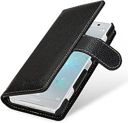 StilGut Talis Case Portafoglio, Custodia in Vera Pelle Cover per Sony Xperia XZ2 Compact con Chiusura Magnetica, Nero