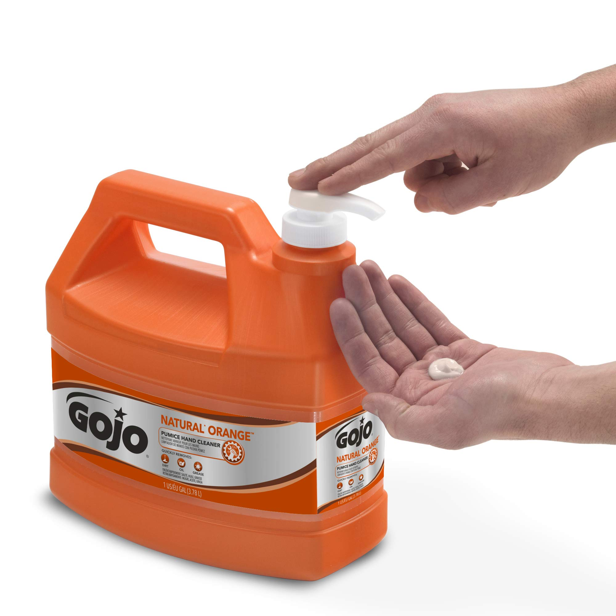 GOJO NATURAL ORANGE Pumice Industrial Hand Cleaner, 1 Gallon Quick Acting Lotion Hand Cleaner with Pumice Pump Bottle (Pack of 2) - 0955-02 by Gojo (Image #4)