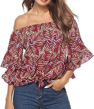 Summer Womens Off Shoulder Bow Tie Ruffle Top Casual Stripes T-shirt Blouse Plus