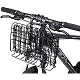 ANZOME Front Handlebar Bike Basket Folding &Rear Rack Grocery Basket Bicycle Lift-Off Basket Suitable for Folding Bikes Mountain Bikes - Black/Silver