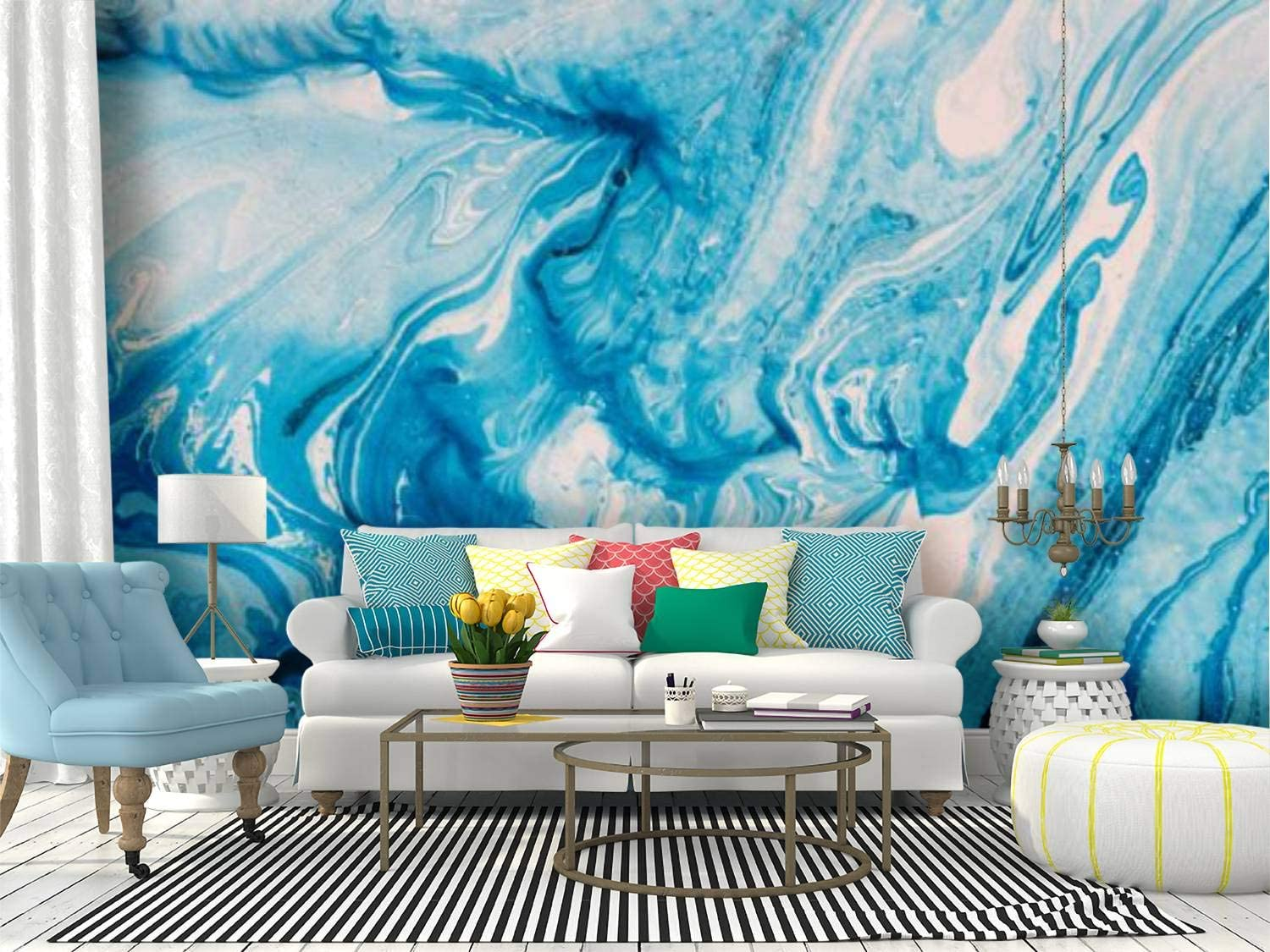 Abstract Painting Marble Effect Painting Mixed Azure And White Oil Canvas Print Wallpaper Wall Mural Self Adhesive Peel Stick Wallpaper Home Craft Wall Decal Wall Poster Sticker For Living Room