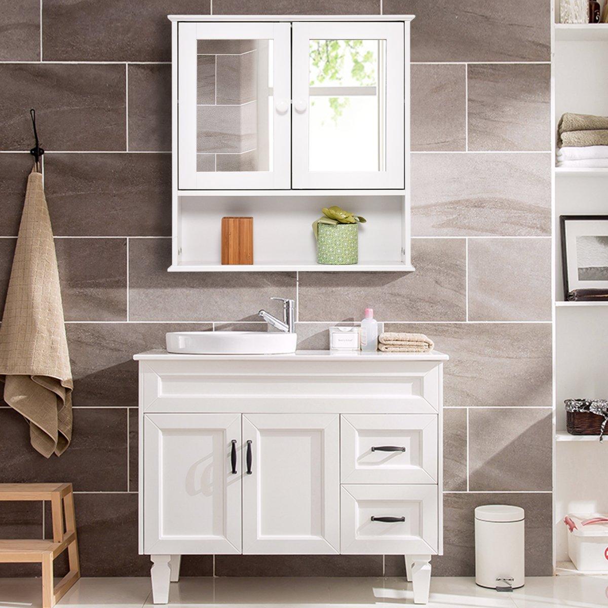Amazon.com: TANGKULA Bathroom Cabinet Double Mirror Door Wall Mount ...