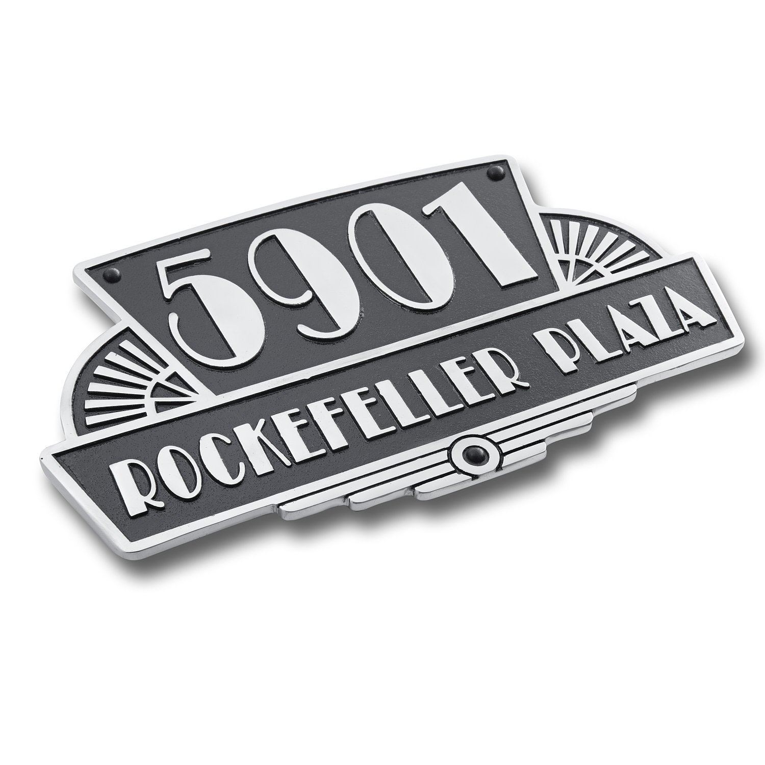 House Number Address Plaque Art Deco Rockefeller Style. Cast Metal Personalised Yard Or Mailbox Sign With Oodles Of Number And Letter Options. Handmade In England By The Metal Foundry Just For You