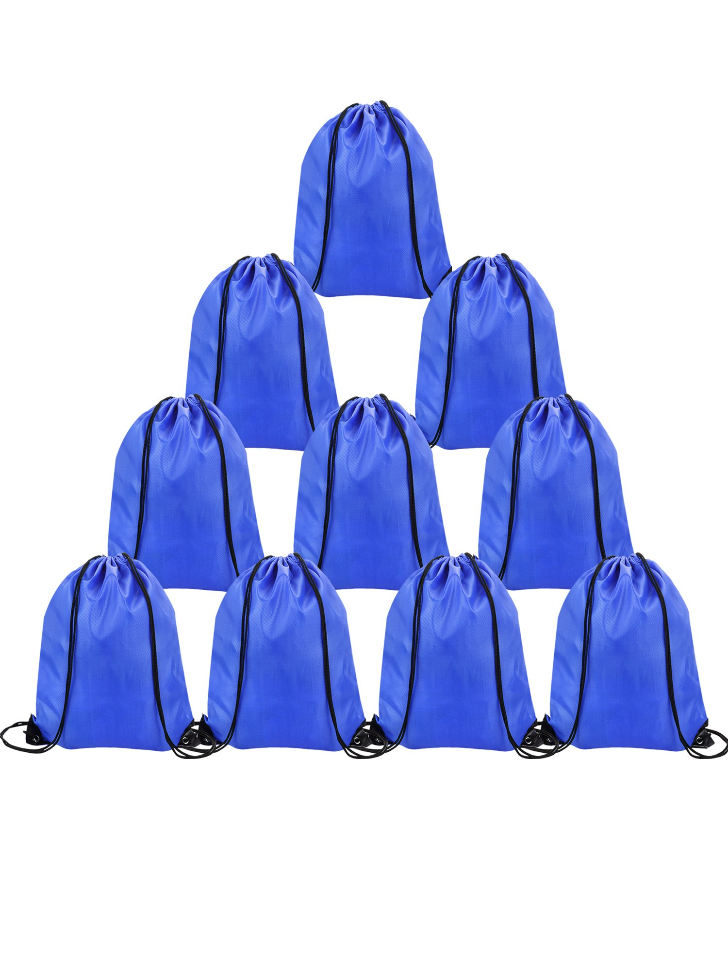 Shappy 10 Pieces Drawstring Bag Sack Pack Cinch Tote Kids Adults Storage Bag for Gym Traveling (Navy Blue)