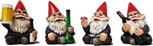 "DWK 4"" Happy Time Bunch Set of Four (4) Mini Gnomes with Bong Wine Beer and Pipe Party Favor Figurine Decor for Home and Office"