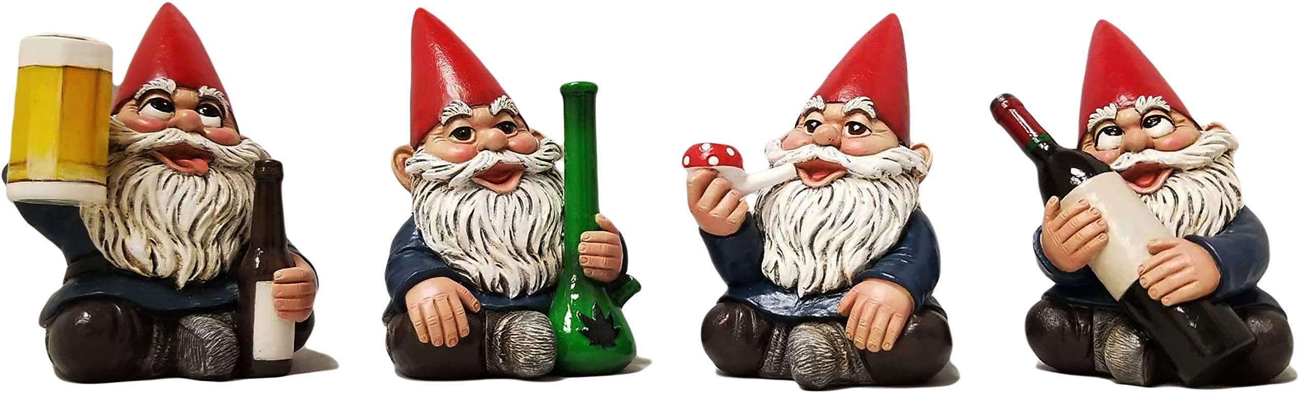 DWK 4'' Happy Time Bunch Set of Four (4) Mini Gnomes with Bong Wine Beer and Pipe Party Favor Figurine Decor for Home and Office