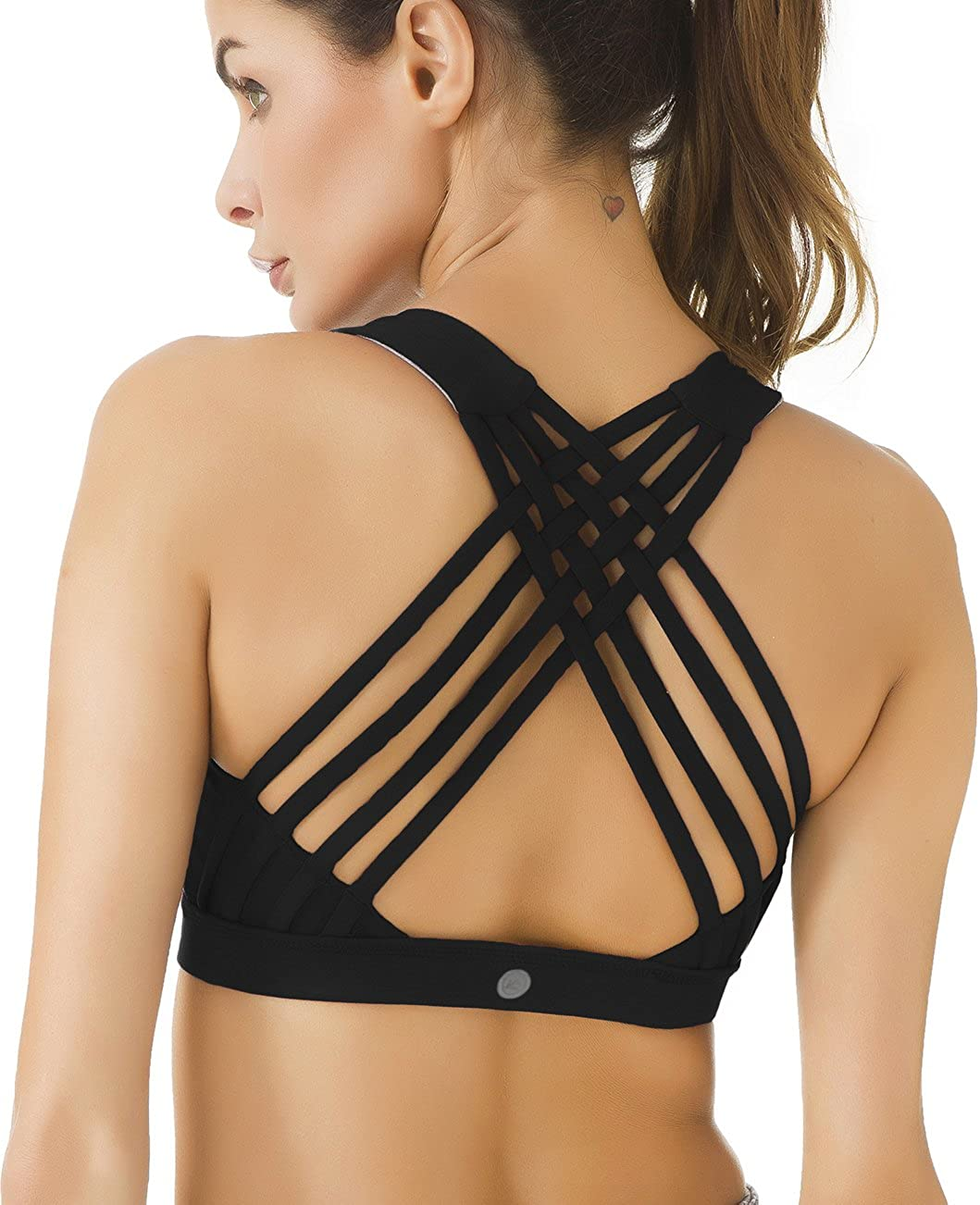 QUEENIEKE Womens Medium Support Strappy Back Energy Sport Bra Cotton Feel