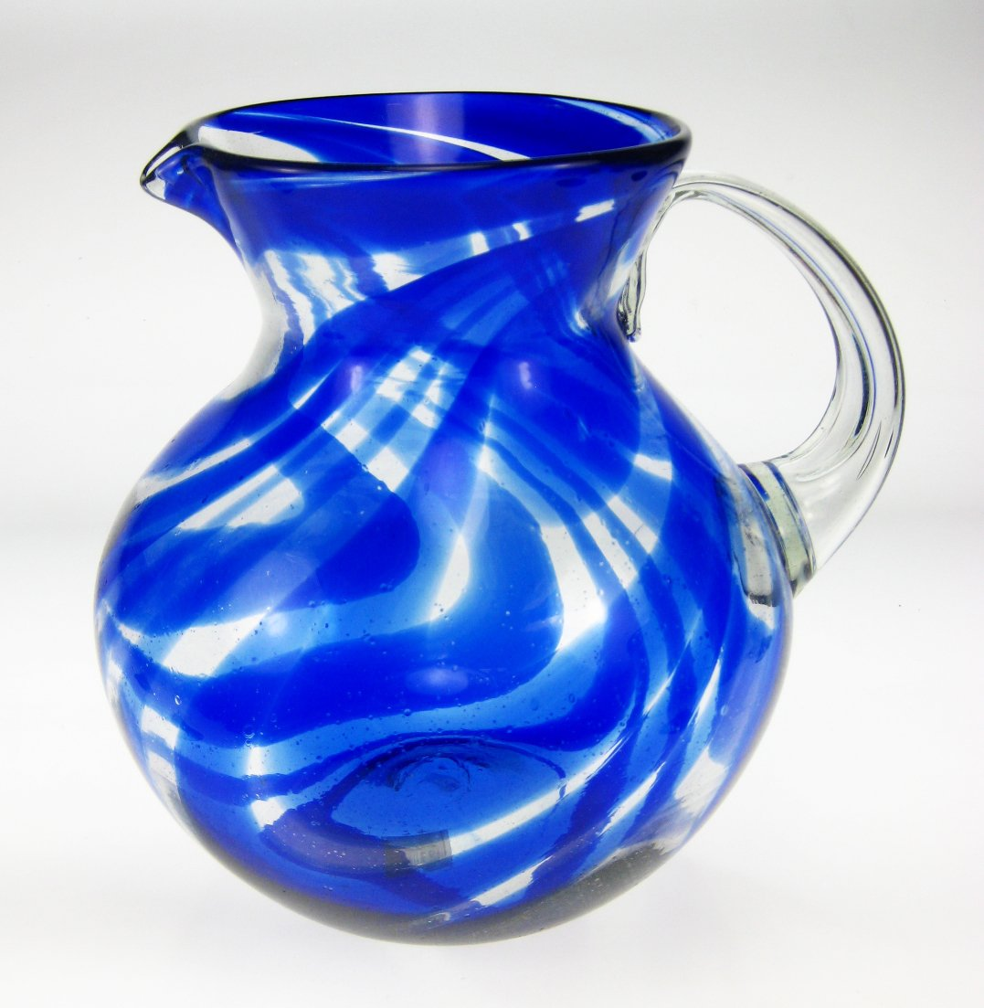 Mexican Glass Margarita or Juice Pitcher, Blue Swirl Design, Bola or Bowl Shape Design, 4 quarts by Mexican Glass (Image #1)