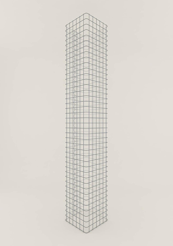 Säule Steinkorb-Gabione eckig, Maschenweite 5 x 5 cm, Höhe 200 cm, Spiralverschluss, galvanisch verzinkt (32 x 32 cm)