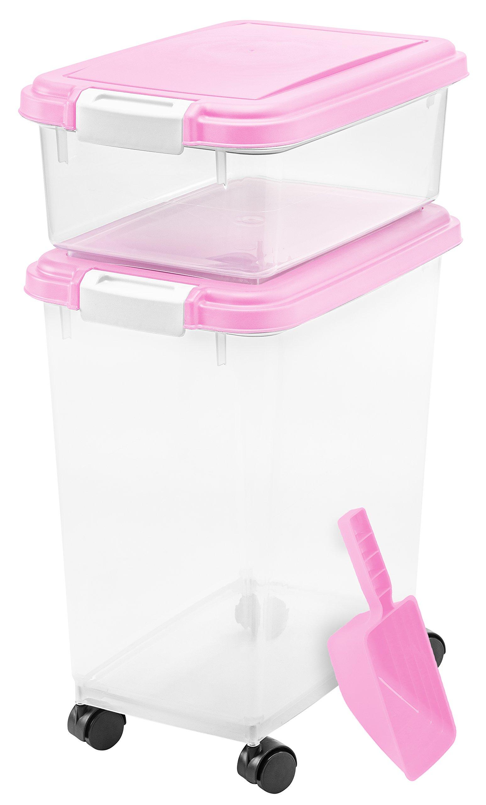 IRIS 3-Piece Airtight Pet Food Container Combo Pink